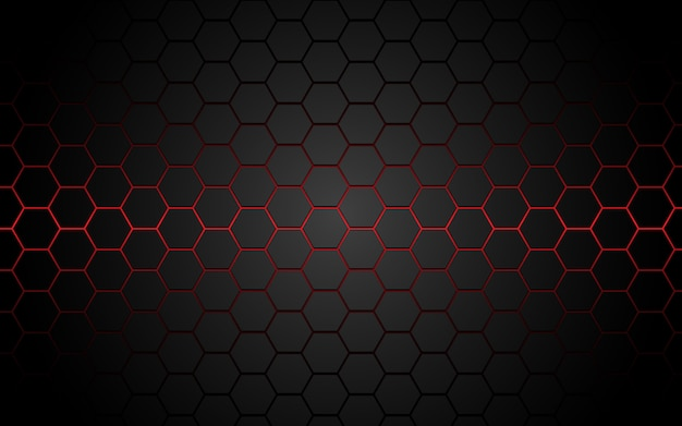 Abstract red light hexagon line in grey modern luxury futuristic.