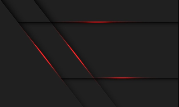 暗い灰色のデザインの現代の未来的な技術の背景図に抽象的な赤い光の線の影。