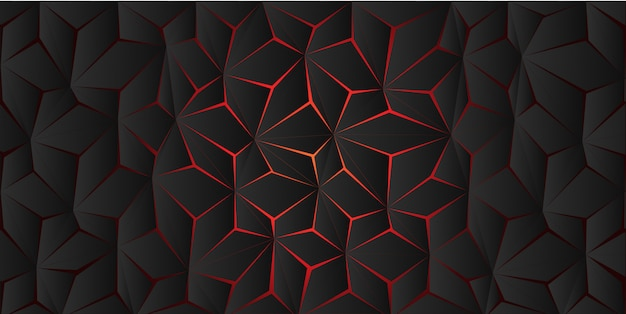 Abstract red light polygon crack on dark grey background texture.