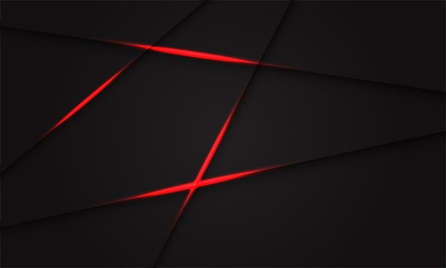 Abstract red light shadow cross line on dark grey design modern futuristic background .