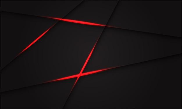 ダークグレーのデザインのモダンで未来的な背景に抽象的な赤い光の影のクロスライン。