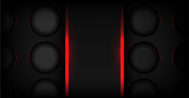 Abstract red light with dark metallic technology background
