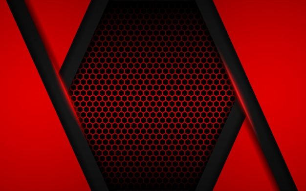 Abstract red light with hexagon background