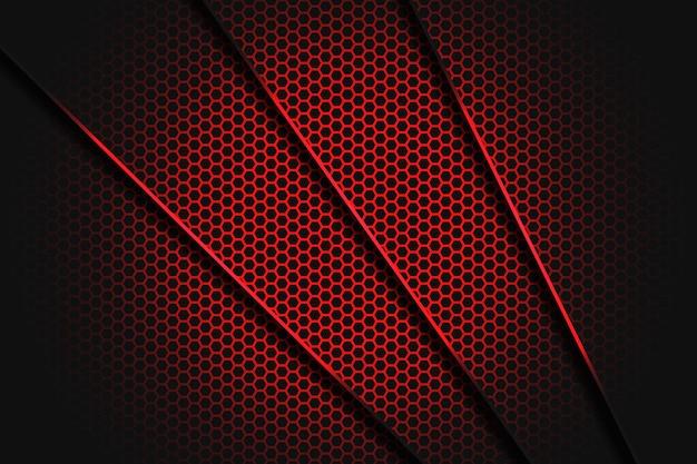 シャドウと六角形のメッシュパターンモダンで豪華な未来的な背景を持つ抽象的な赤い線スラッシュ三角形