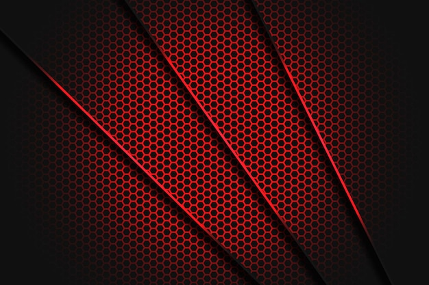 Abstract red line slash triangle with shadow and hexagone mesh pattern modern luxury futuristic background