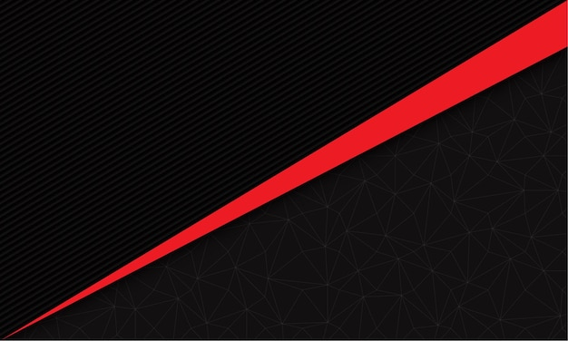 幾何学的な線のモダンな未来的な背景と濃い灰色の線の抽象的な赤い線の三角形のスラッシュ