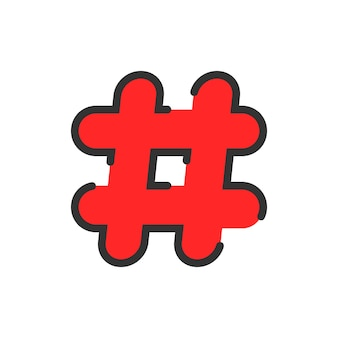 抽象的な赤い線形ハッシュタグアイコン。コメント表示のコンセプト、pr、ウェブサイトのショートメッセージ、検索、グリル、私たち。フラットスタイルのトレンドモダンなロゴタイプデザインベクトルイラスト白地に