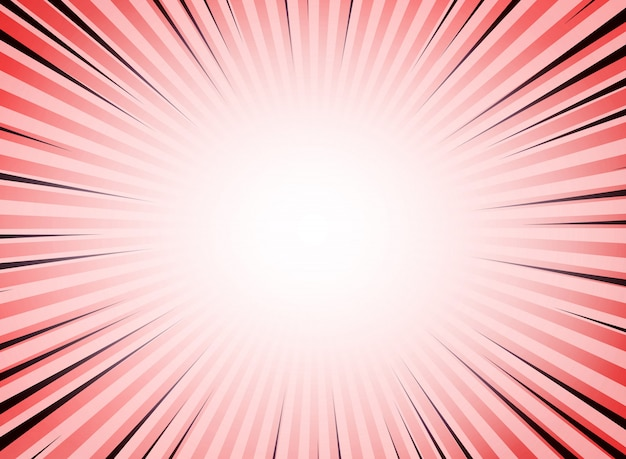 Abstract red living coral color sun burst comic background.