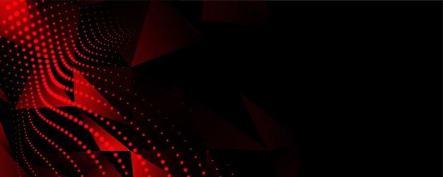 黒の背景に抽象的な赤い低ポリ粒子