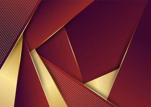 金色の線、紙カットスタイル3dと抽象的な赤い豪華な背景。ベクトルイラスト。