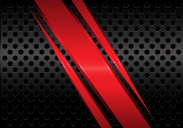 Abstract red metal slash on black circle mesh modern futuristic background