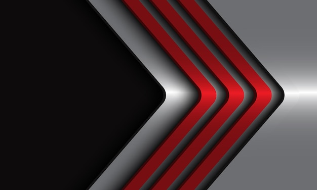 Abstract red metallic arrows direction on silver modern luxury futuristic background.