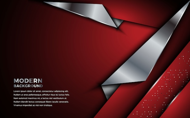 Abstract red metallic background with geometric lines