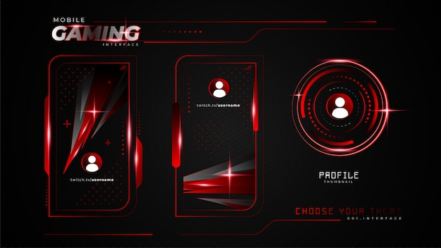Abstract red mobile gaming interface