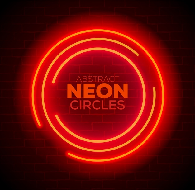 Abstract red neon circles banner on brick wall.  illustration.