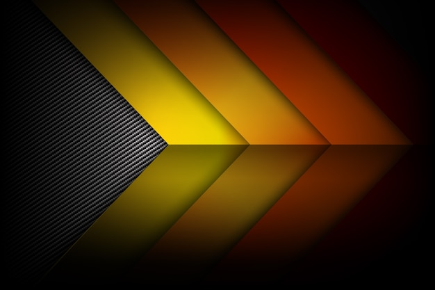 Abstract red orange yellow background dark and black carbon fiber with curve and layered