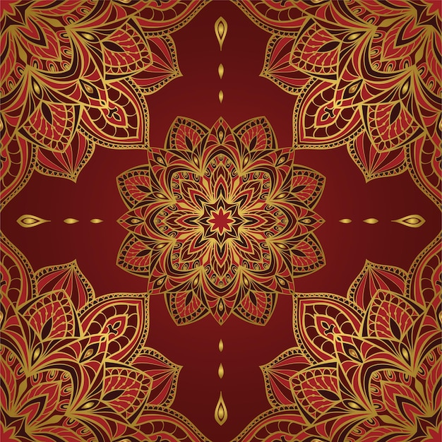 Abstract red oriental pattern with mandalas.