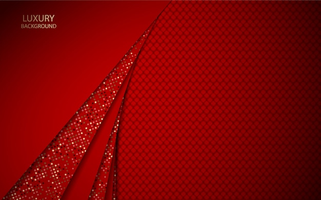 Abstract red overlap background with glitters element decoration