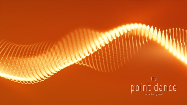 Abstract red particle wave, points array, shallow depth of field. futuristic illustration. technology digital splash or explosion of data points. point dance waveform.