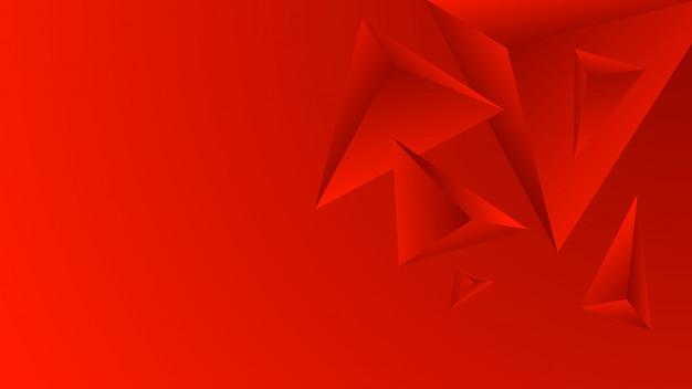 グラデーションの背景に抽象的な赤いポリゴン。