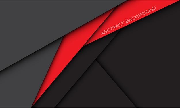 空白のスペースと灰色の抽象的な赤い影の線の幾何学的なオーバーラップ現代の未来的な背景