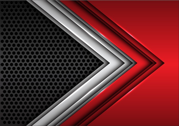 Abstract red silver arrow on dark gray circle mesh futuristic background.