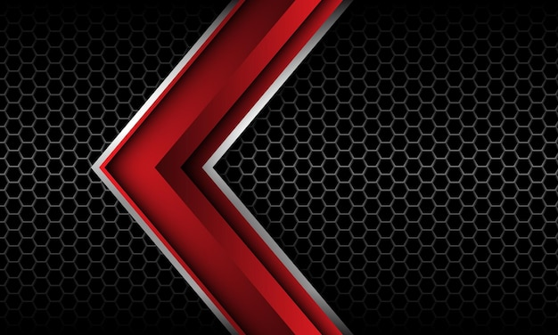 Abstract red silver arrow direction grey hexagon mesh black luxury futuristic technology vector