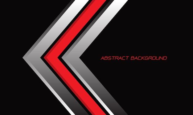 空白のスペースモダンな未来的な背景と黒の抽象的な赤銀矢印方向