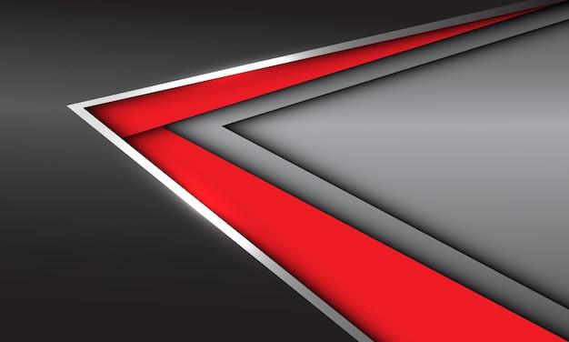 抽象的な赤い銀の矢印の方向は、空白のスペースと灰色のメタリックに重なります現代の未来的な背景