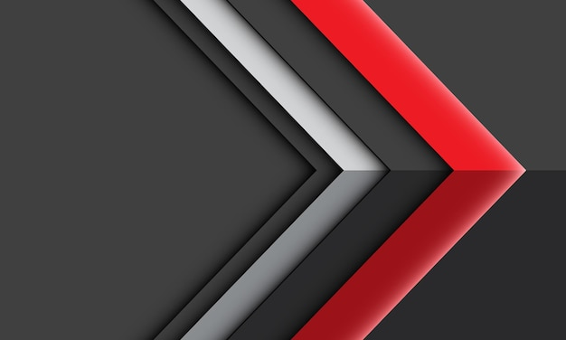 Abstract red silver arrow light shadow direction geometric on grey futuristic technology background