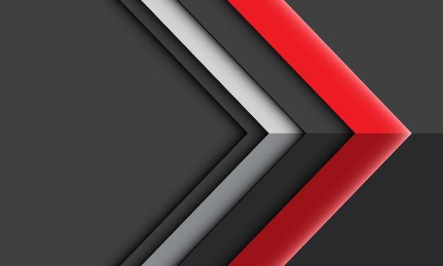 灰色の未来的な技術の背景に幾何学的な抽象的な赤い銀色の矢印光の影の方向