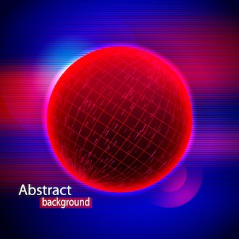 Abstract red sphere shape of glowing circles and particles.