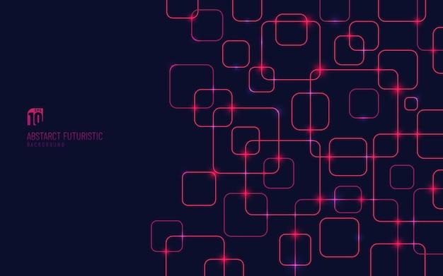 어두운 배경에 추상 빨간색 사각형 패턴 기술 작품.