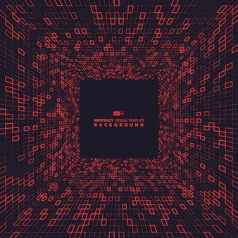 Abstract red square of technology dimension background design.