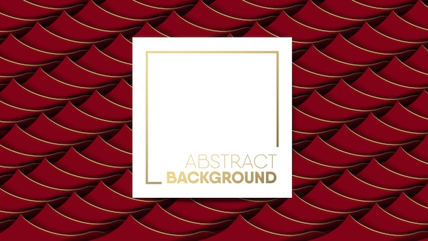 Abstract red stripes wave background with white frame