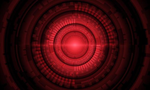 Абстрактная красная система круг цепи кибер футуристические технологии векторные иллюстрации фона