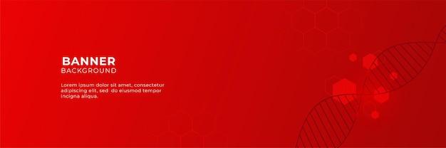 3dオーバーラップレイヤーと六角形の幾何学的形状と抽象的な赤い技術バナーの背景