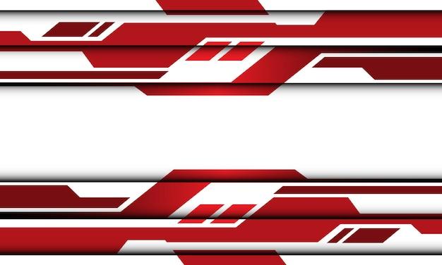 흰색 빈 공간 디자인 현대 미래 기술 배경에 추상 붉은 톤 형상 사이버 회로.