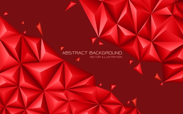 Abstract red tone triangle 3d modern futuristic background.