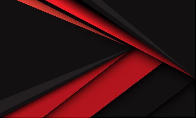 濃い灰色の現代の未来的な創造的な背景の抽象的な赤い三角形の矢印の速度方向