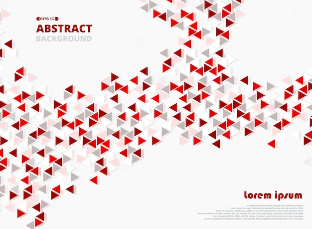 Abstract red triangle geometric decoration background.