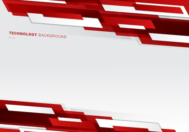 Abstract red and white geometric technology style