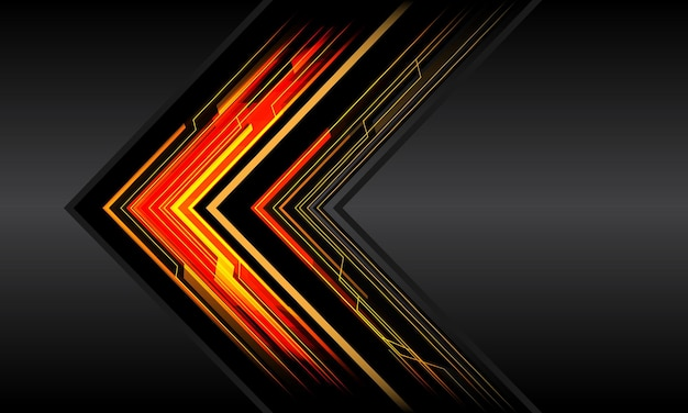 Abstract red yellow black arrow line circuit light cyber geometric technology