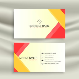 Abstract red yellow geometric business card design