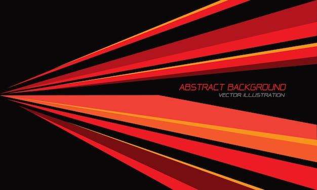 黒のモダンな未来の抽象的な赤黄オレンジ線速度三角形の方向