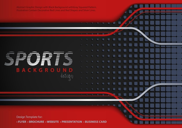 Abstract redblack background in sport design style with decorative lines and squared pattern