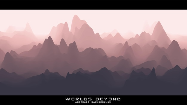 Абстрактный красноватый пейзаж с туманным туманом до горизонта над горными склонами. градиент размытой поверхности местности