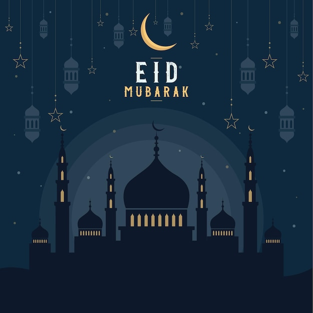 Abstract religious eid mubarak islamic   illustration with mosques, lights, moon, and stars. mosque silhouette in the night sky and abstract light.