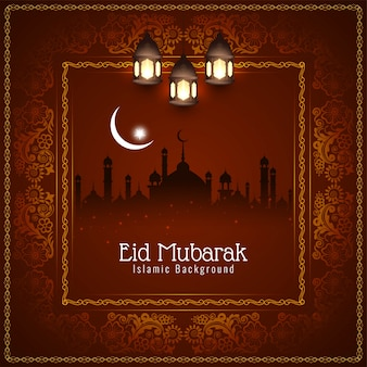 Abstract religious eid mubarak islamic red