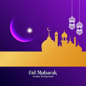 Abstract religious festival eid mubarak violet